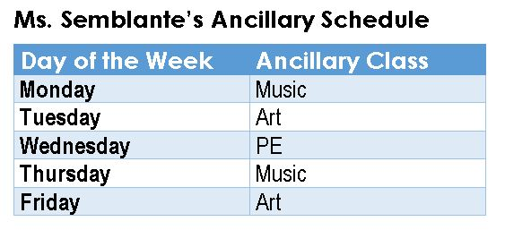 Ancillary Schedule