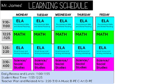 Mr. James' Classroom Schedule