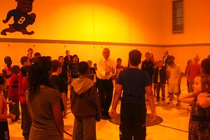 Mr. Pierre introducing Ballroom Dancing to 5th grade students