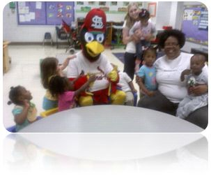Students Enjoying A Visit From Stl Cardinals Mascot, Fredbird.