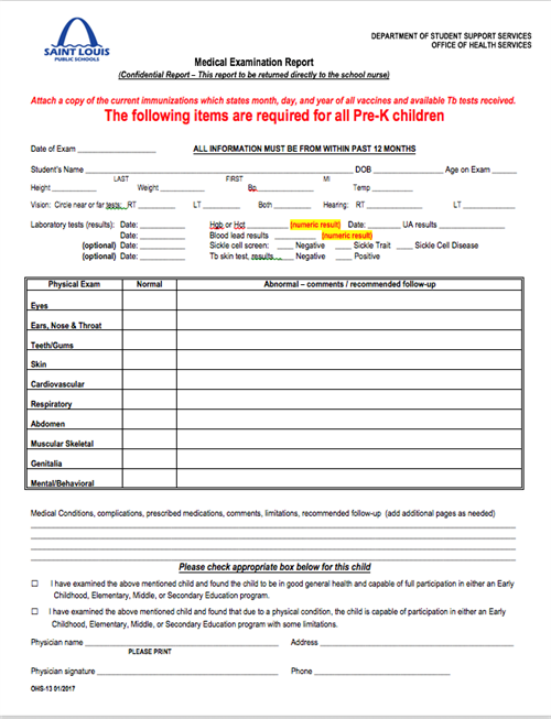 early childhood medical forms