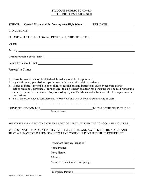 School Field Trip Permission Slip Template