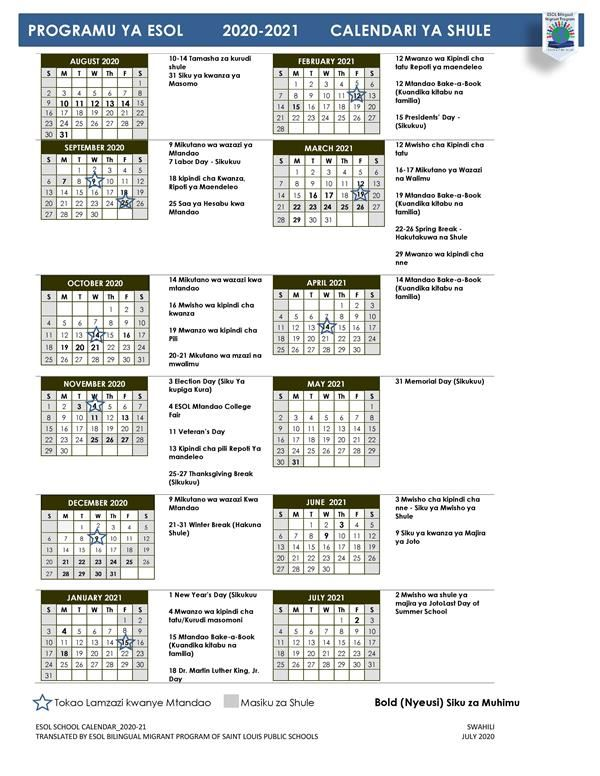 Slps Calendar 2021 ESOL BILINGUAL MIGRANT PROGRAM / ESOL Calendar 2020 21 Swahili