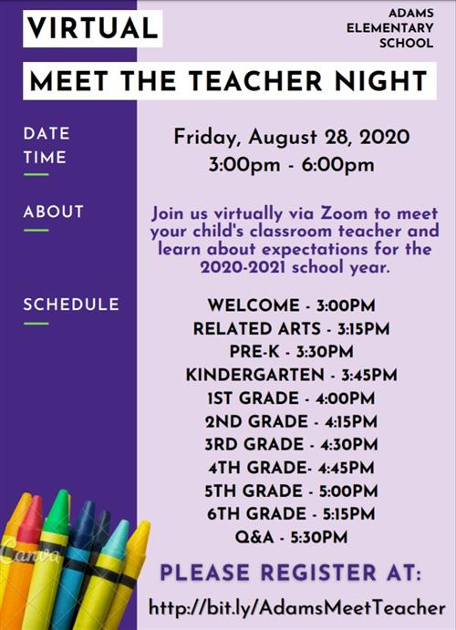 Virtual Meet the Teacher flyer