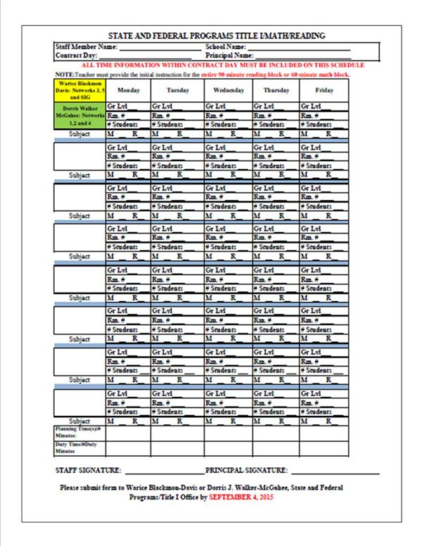 State and Federal Programs / Class Size Reduction Teacher Schedule