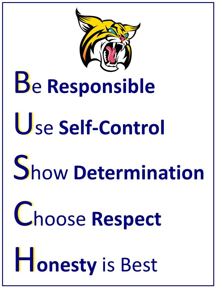 Busch Acrostic Poem Poster: Be Responsible, Use Self-Control, Show Determination, Choose Respect, Honesty is Best