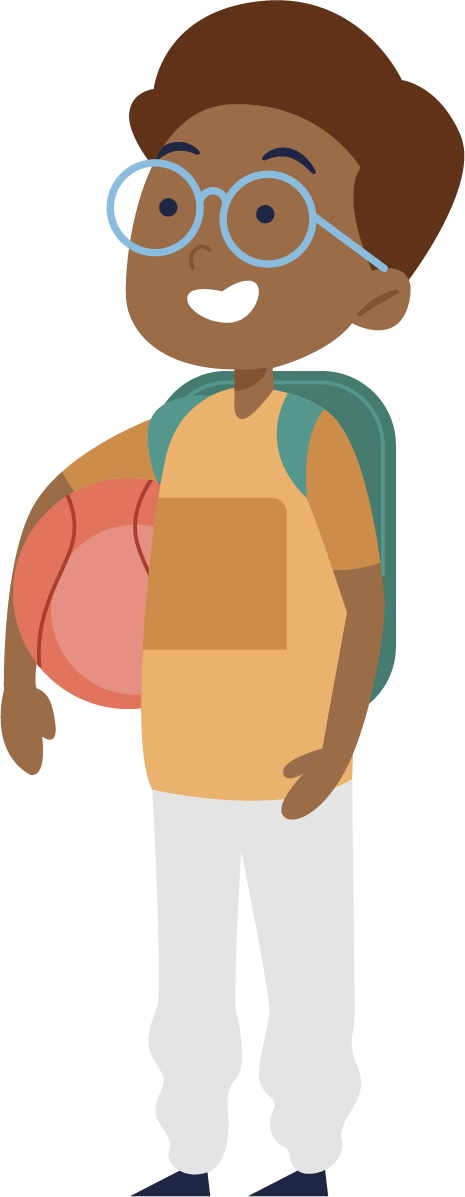 Boy with Backpack and Ball
