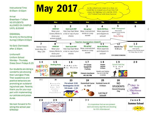 Lexington's May 2017 School Calendar