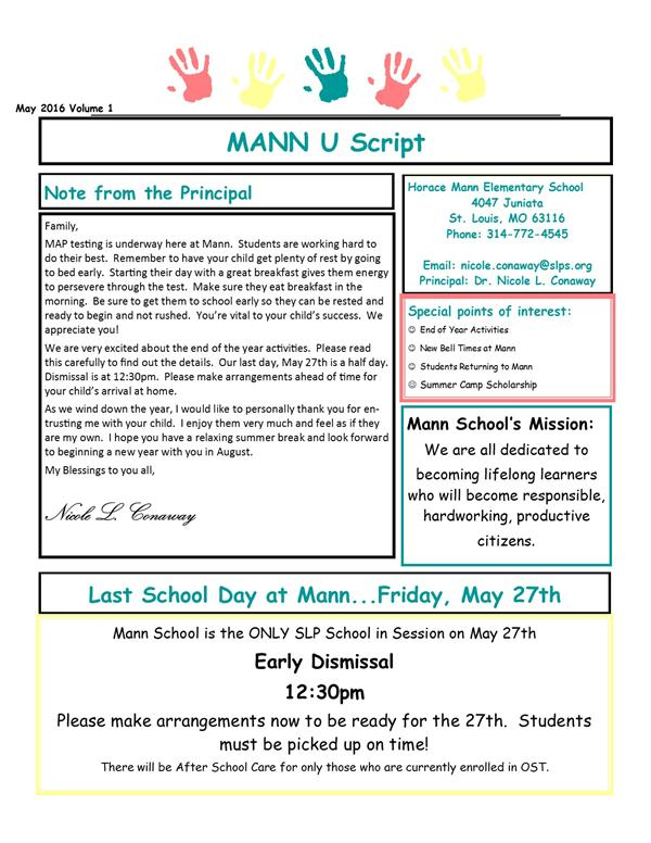 Mann School Newsletter